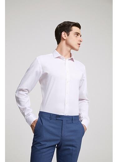 TWN Slim Fit Armürlü Gömlek Beyaz